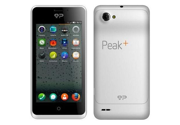 Firefox OS -puhelin Geeksphone Peak+ edestä ja takaa