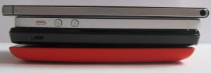 Paksuusvertailua - alhaalta ylös: Nokia Lumia 520, Huawei Ascend Y300, Apple iPhone 5 ja päällimmäisenä joukon selvästi ohuin Huawei Ascend P6