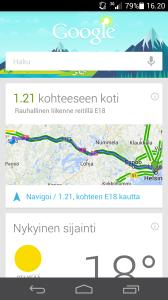 Myös Google Now on läsnä Ascend P6:ssa. Siihen pääsee käsiksi näytön alareunasta keskeltä löytyvää kotipainiketta ylöspäin pyyhkäisemällä.