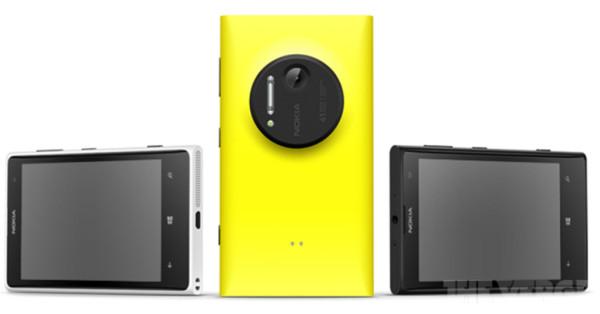 Nokia Lumia 1020 ja eri värivaihtoehdot The Vergen julkaisemassa lehdistökuvassa
