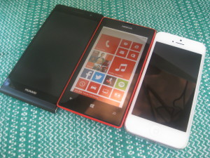 Huawei Ascend P6, Nokia Lumia 520 ja Apple iPhone 5