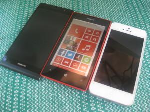 Huawei Ascend P6, Nokia Lumia 520 ja Apple iPhone 5