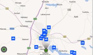 HERE City Lens - vaihtoehtoisesti majoituskohteita voi tarkastella karttanäkymässä
