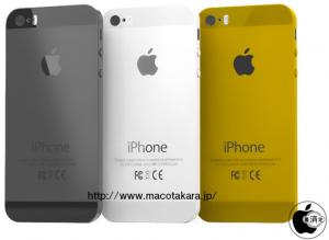 Macotakaran aiemmin julkaisema hahmotelmakuva uudesta iPhone 5S:stä eri väreissään