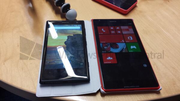 Nokia Lumia 1520 Windows Phone Centralin aiemmin julkaisemassa vuotokuvassa toisen Lumian rinnalla