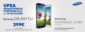Samsung Galaxy S4 -tarjous Experience Storesta torstai kello 15.45 alkaen