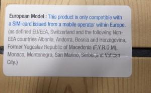 Galaxy Note 3:n myyntipakkauksen maanosarajoitustarra