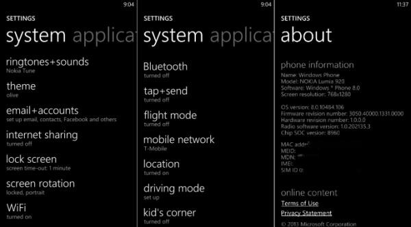 GDR3:n / Lumia Bittersweet shimmerin asetusvalikko
