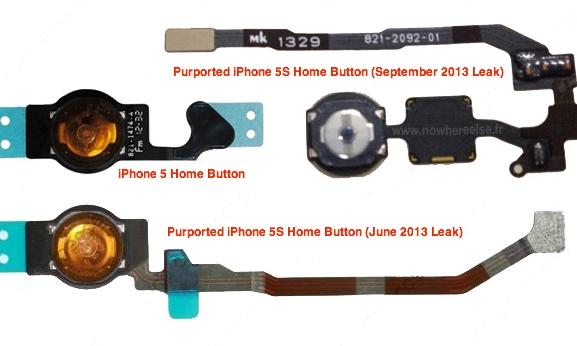 iPhone 5S:n kotinäppäimet - uusi ja aiempien prototyyppien NoWhereElse.fr:n kuvassa