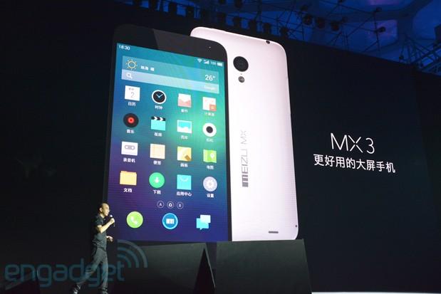 Meizu MX3 julkistustilaisuudessa Engadgetin kuvassa