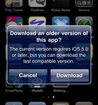 Apple kertoo ilmoituksella vanhemman sovellusversion asennusmahdollisuudesta iOS 7:aa vanhemmissa versioissa