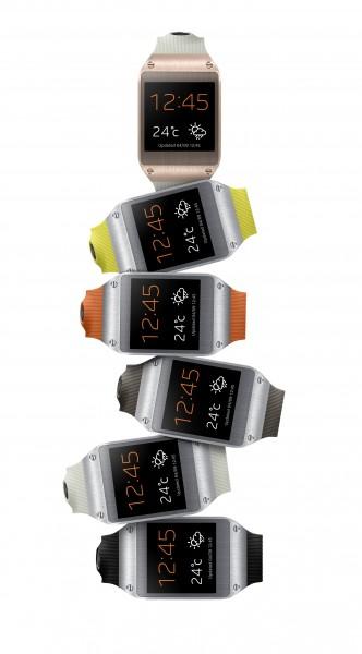Samsung Galaxy Gear eri väreissä allekkain