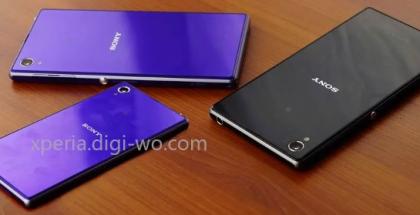 Kuvassa Sony Xperia Z1:n pienempi versio kahden nykyisen, viisituumaisella näytöllä varustetun Xperia Z1:n rinnalla