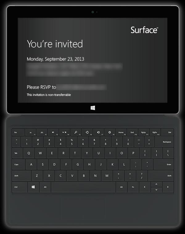 Kutsu Microsoftin Surface-tapahtumaan 23. syyskuuta