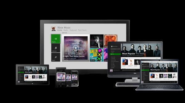 Xbox Musiikki kaikilla näytöillä