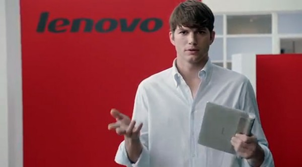 Ashton Kutcher on Lenovo-mies
