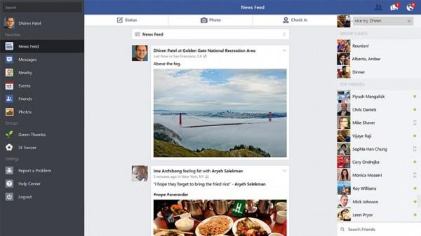 Facebookin etusivu uudessa Windows 8.1 -sovelluksessa