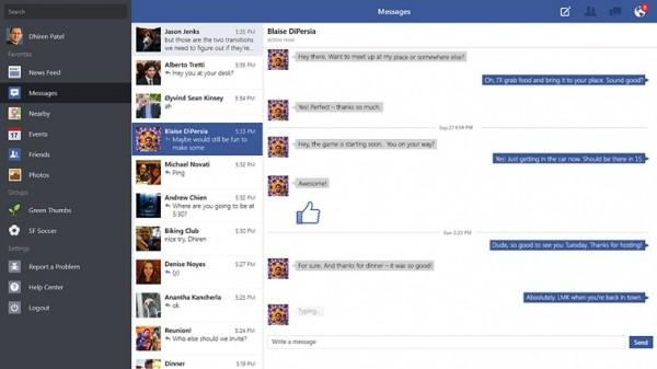 Keskustelunäkymä Windows 8.1:n Facebook-sovelluksessa