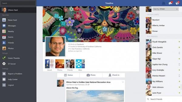 Aikajananäkymä Windows 8.1:n Facebookissa