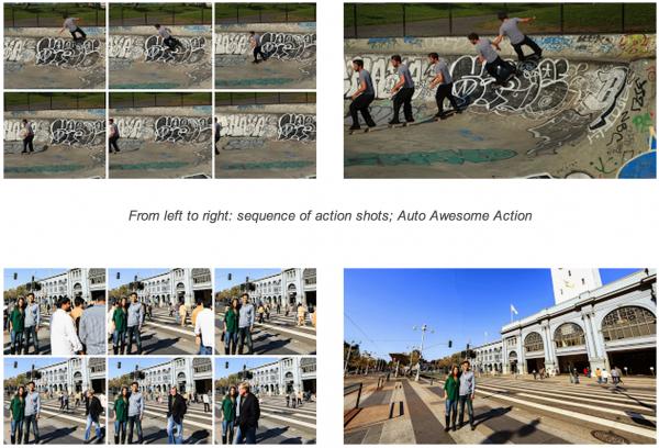 Uusia Auto Awesome -toimintoja: yllä toimintakuva ja alla ylimääräisten asioiden poistaminen