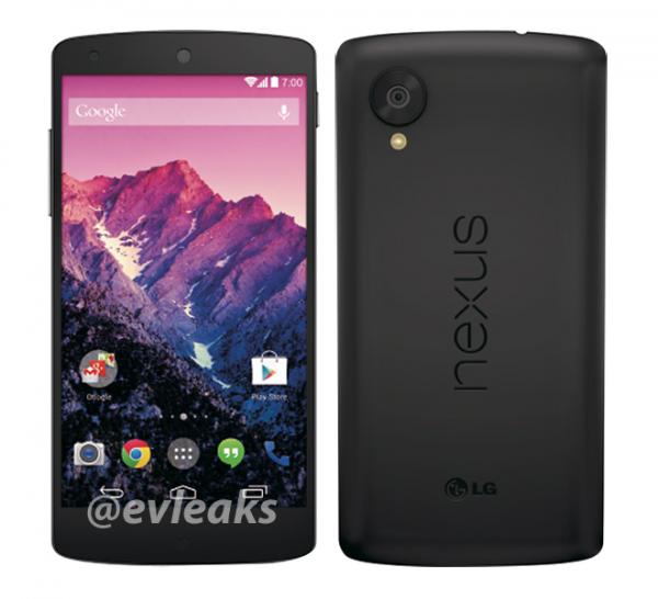 Googlen ja LG:n Nexus 5 mustana @evleaksin vuotamassa kuvassa
