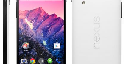 Googlen ja LG:n Nexus 5 valkoisena @evleaksin vuotamassa kuvassa