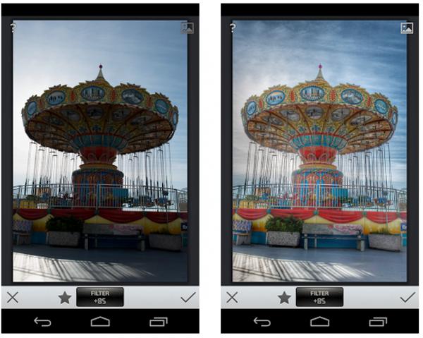 Vasemmalla normikuva ja oikealla Snapseedin uudella HDR Scapella parannettu kuva