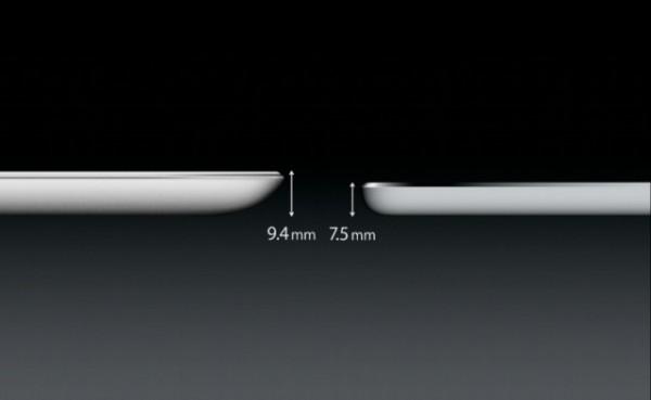iPad Air on tämän verran aiempia 3. ja 4. sukupolven iPadeja ohuempi