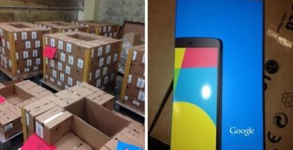 Nexus 5 -pakkauksia varastossa. Kuvat julkaistu NeoGAF-keskustelupalstalla.