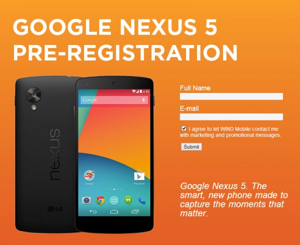 Nexus 5 kanadalaisoperaattori WINDin sivuilla