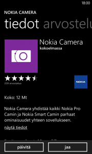 Nokia Camera Windows Phonen sovelluskaupassa