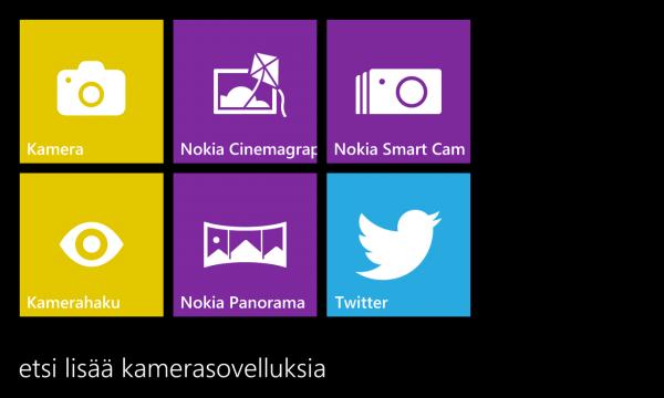 Windows Phonen kamerasovellusten valikko löytyy nyt Nokia Camerasta toisin kuin aiemmin Pro Camerasta