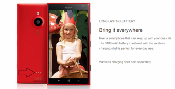 Nokia Lumia 1520 AT&T:lle - huomaa takaa löytyvät kolme liitintä lisälatauskuorelle