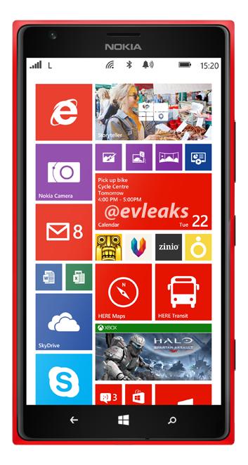 Nokia Lumia 1520 punaisena @evleaksin vuotamassa lehdistökuvassa