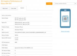 Nokia RM-997 eli Glee eli Lumia 525 testausohjelmiston tiedoissa