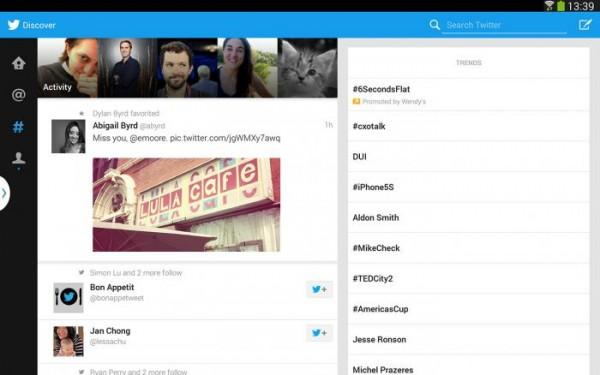 Twitter Android-tableteille