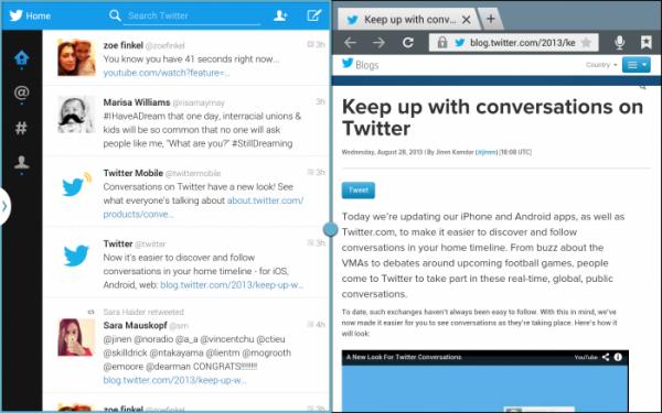 Twitterin Android-tablettiversio ja verkkoselain esillä yhtä aikaa