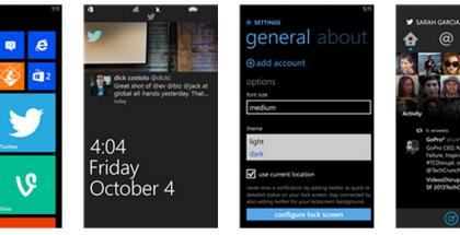 Kuvankaappauksia päivittyneestä Twitteristä Windows Phonelle