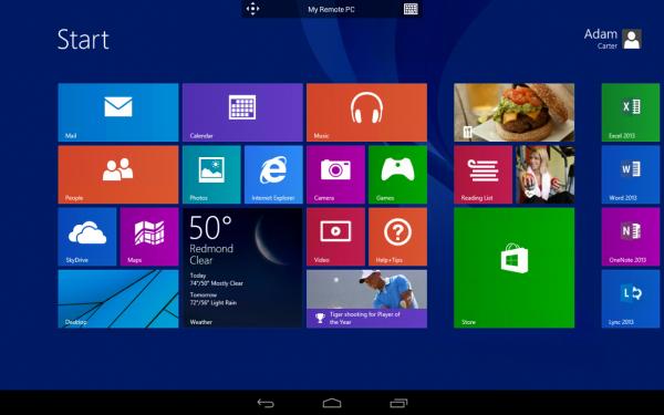 Kuvakaappaus Remote Desktop -sovelluksen Android-versiosta