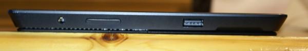 Surface Pro 2:n äänenvoimakkuuden säätönäppäimet, USB 3.0 -portti sekä kuulokeliitäntä
