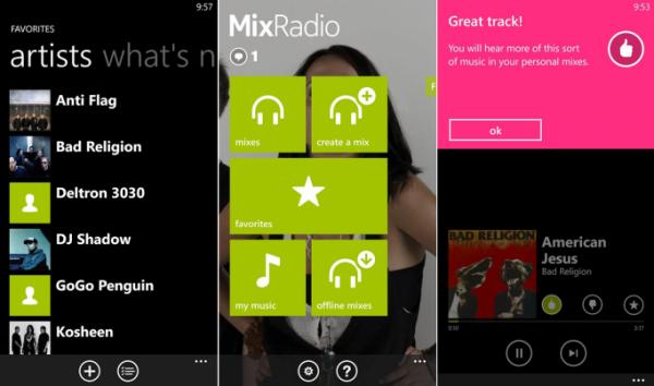 Kuvakaappauksia Nokia MixRadion uudesta ilmeestä