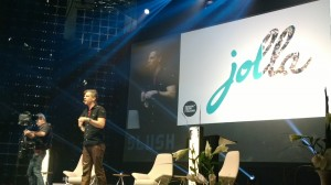 Jollan yksi perustaja ja ohjelmistokehitystä vetävä Marc Dillon lavalla Slushissa 2013