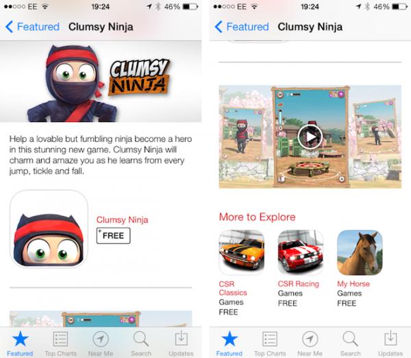 Clumsy Ninjasta myös videota App Storessa