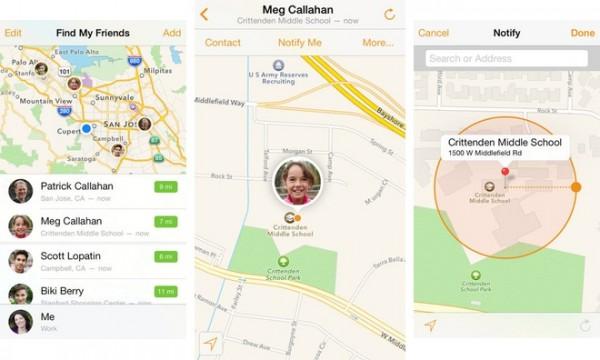 Find My Friends eli suomeksi Etsi ystäväni -sovellus uudeen ilmeen mukaisena iOS 7:llä
