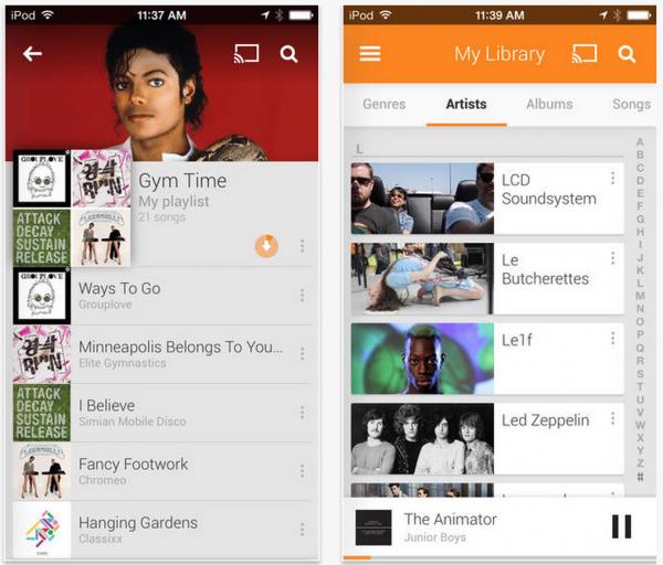 Google Play -musiikki Applen iOS-laitteille