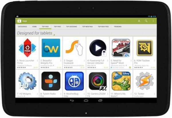 Google Play nostaa tablettisovellukset esille