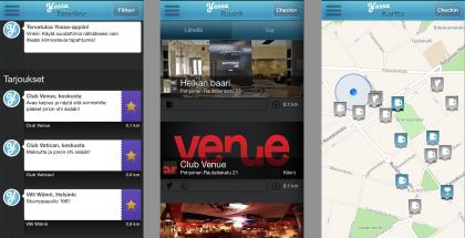 Yössä-sovelluksessa näkyvät esimerkiksi eri tarjoukset sekä lähistön baarit niin listalla kuin kartallakin