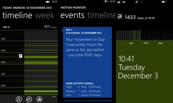 Kuvakaappauksia Nokia Motion Monitor -sovelluksesta