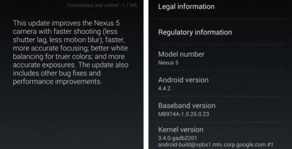 Android 4.4.2 -päivitysilmoitus AndroidPolicen kuvassa