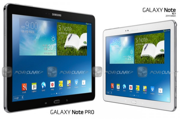 Samsung Galaxy Note Pro 12.2:n ja Samsung Galaxy Note 10.1 2014 Editionin kokoero MovePlayerin renderöimässä kuvassa